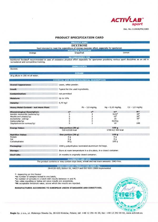 Activla España. Dextrase xtra (1000 gr). Certificacion de analisis de calidad.