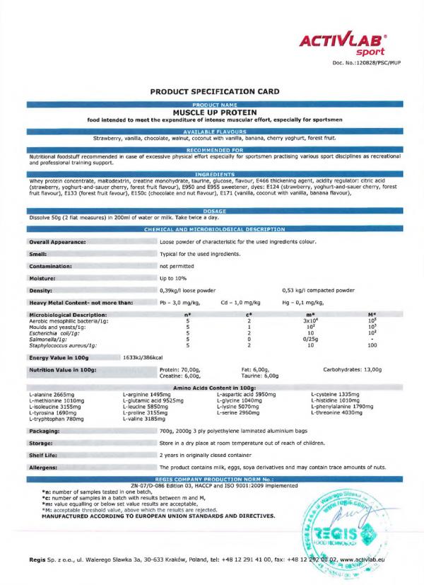 Activlab España, Muscle up protein (700 gr), Certificacion de analisis de calidad.