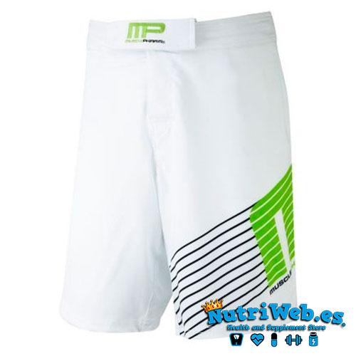 Pantalón corto de entrenamiento Woven short sportline white lime green - Nutriweb