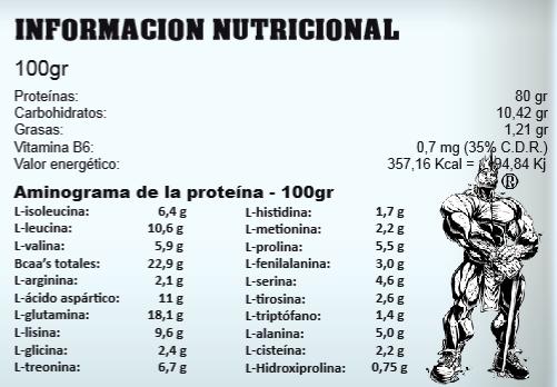 StratPro, 100% Whey Hardcore (3600 gr), Informacion nutricional