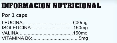 StratPro nutrition, Bcaa,s masticables 4:1:1 (150 tab), Informacion nutricional