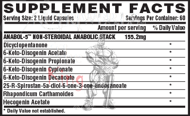 Nutrex research, Anabol 5 Black (120 cap), Informacion nutricional