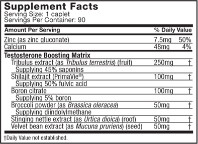 Muscletech, Test HD (90 cap), Informacion nutricional