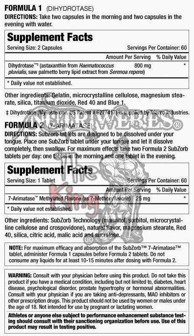 MuscleMeds, Methyl ArimaTest (120 cap + 60 tab), Informacion nutricional
