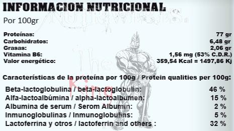StartPro, Casein Micelar (2000 gr), Informacion nutricional