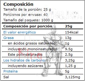 OstroVit, 100% Almond Butter - Suave (1000 gr), Informacion nutricional
