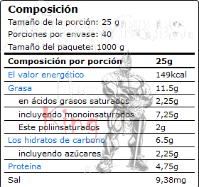 Ostrovit, 100% Cashew Butter - Suave (1000 gr), Informacion nutricional