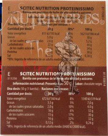 Scitec Nutrition, Proteinissimo bars (15 uni x 50 gr), Informacion nutricional