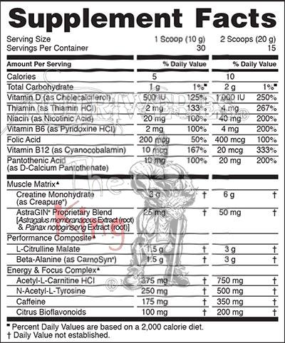 Optimun Nutrition, Gold Standard Pre-Workout (330 gr), Informacion nutricional