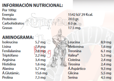 Xtreme nutrition, Amino-Pep (300 tab), Informacion nutricional