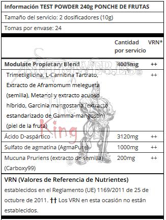 UPS Labs, TEST Powder - Ponche de frutas (240 gr), Informacion nutricional