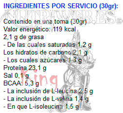 FITwhey Whey protein 100 Concentrate (900 gr), Informacion nutricional