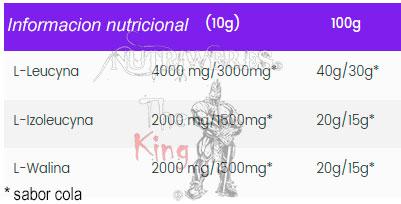 Ostrovit, Bcaa Instant (400 gr), Informacion nutricional