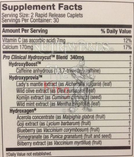 uscletech, Hydroxycut Pro Clinical (60 tab), Informacion nutricional