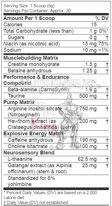 Muscletech, Vapor X5 Next Gen (228 gr), Informacion nutricional