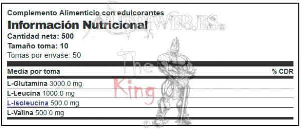 BigMan Nutrition, BCAA + Glutamine BigMan - Energy Drink (500 gr), Informacion nutricional
