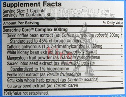 Cytogenix, Xenadrine CORE (80 cap), Informacion nutricional