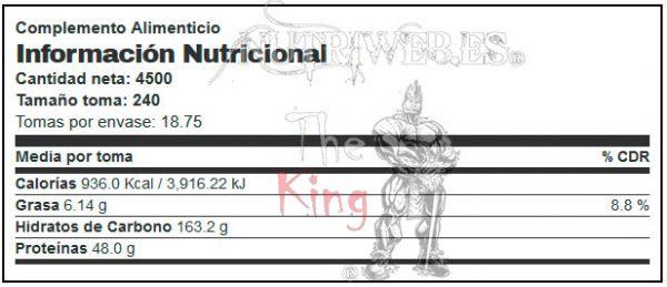 BigMan Nutrition, Critical MASS (4500 gr), Informacion nutricional