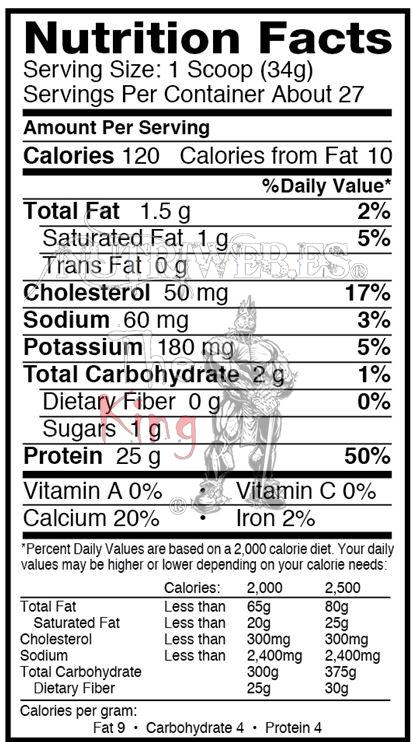Dymatize, Elite Whey protein - Platano (2100 gr), Informacion nutricional