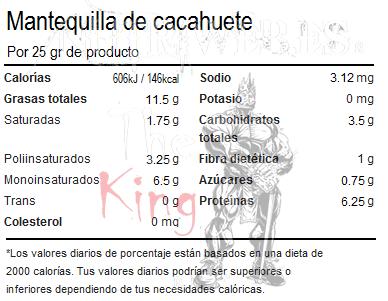 OstroVit, Mantequilla de cacahuete crujiente (500 gr), Informacion nutricional