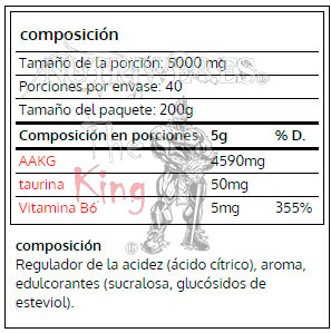 OtroVit, A-AKG (200 gr), Informacion nutrcional