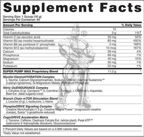 Gaspari nutrition, SuperPump Max (480 gr), Informacion nutricional