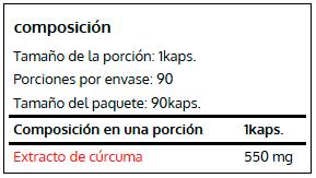Fitomax, Curcuma Longa extract (90 Vcaps), Informacion nutricional