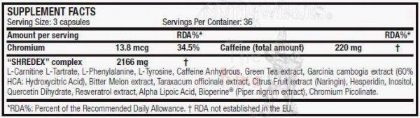 Scitec nutrition, Shredex (108 caps), INformacion nutricional