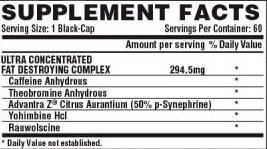 Nutrex, Lipo 6 black ultra concentrate (60 liquidcap), Informacion nutricional