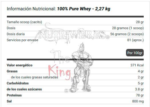 Biotech USA, 100% Pure Whey (2270 gr) + Bcaa 8:1:1 zero (250 gr), Informacion nutricional