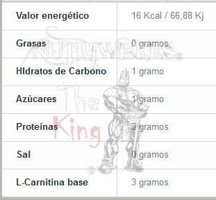 Muscle Force, Carni Force 3.000 - Lima limon (20 uni x 60 mlt), Informacion nutricional