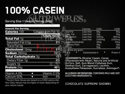 Optimun Nutrition, 100% Casein Gold Standard - Fresa (900 gr), Informacion nutricional
