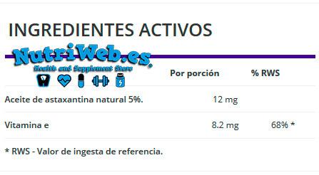 OstroVit, Astaxantina (90 grajeas), Informacion nutricional