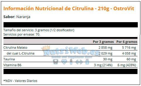 Citrulina Malato (210 gr) - Nutriweb