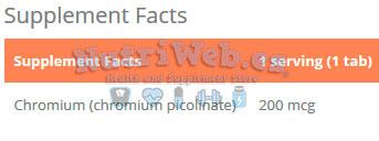GymBeam, Picolinato de cromo Gym Beam (120 tabs), Informacion nutricional