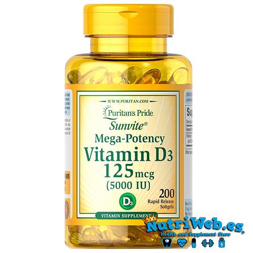 Vitamina D3 5000 UI (100 grageas) - Nutriweb