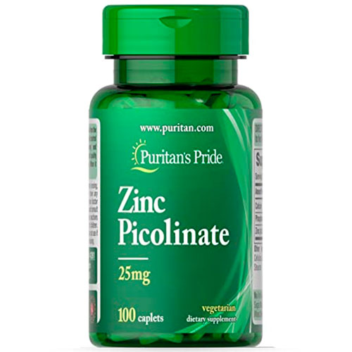 Puritans Pride Picolinato de Zinc (100 tabs) - Nutriweb